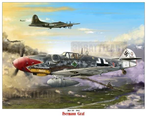 K&C collector exclusive -  Hermann Graf Me 109 G6 signed/ numbered Ltd run print(30 only)